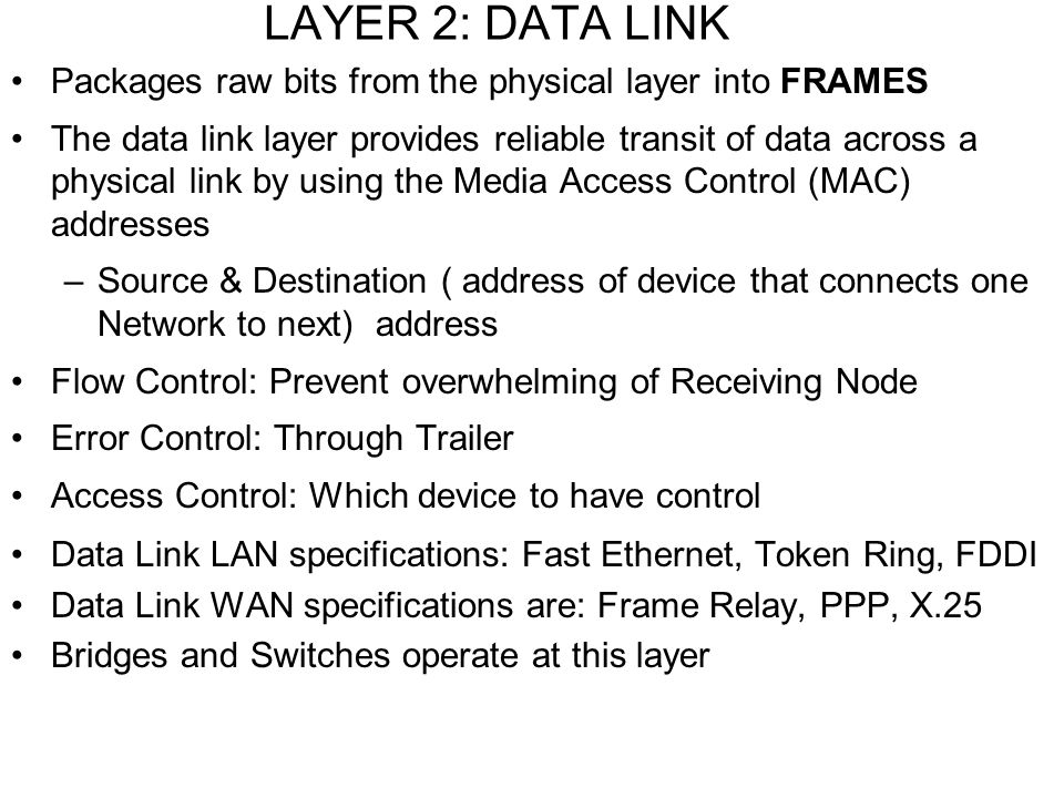 LAYER 2: DATA LINK Packages raw bits from the physical layer into FRAMES.