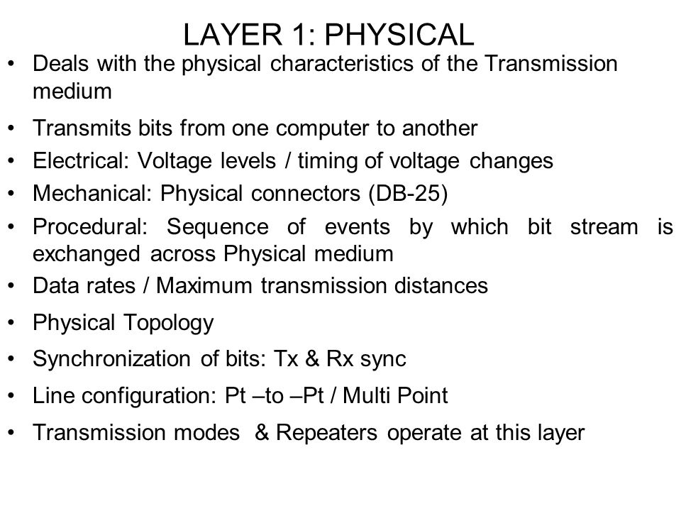 LAYER 1: PHYSICAL Deals with the physical characteristics of the Transmission medium. Transmits bits from one computer to another.