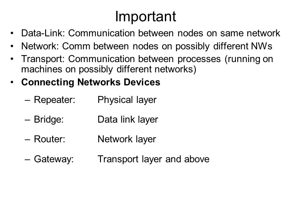 Important Data-Link: Communication between nodes on same network