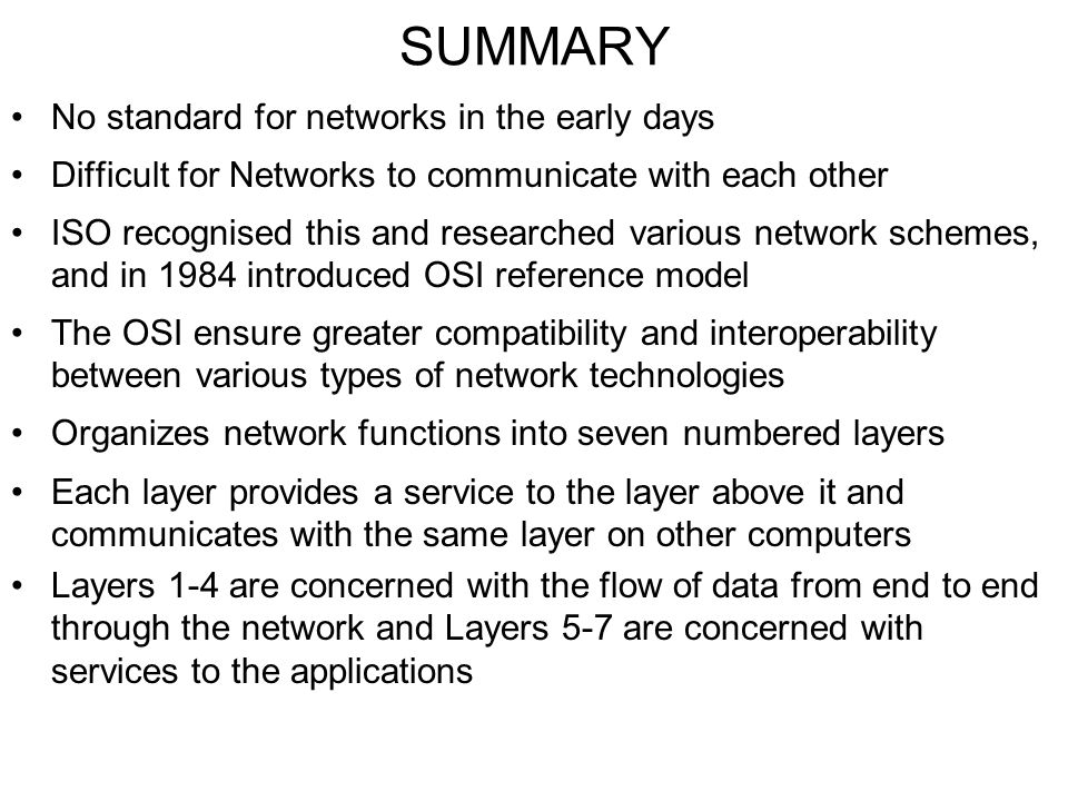 SUMMARY No standard for networks in the early days