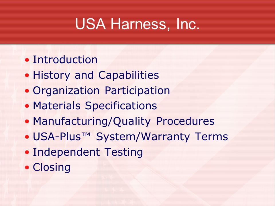 USA+Harness%2C+Inc.+Introduction+History+and+Capabilities usa plus™ wiring harness system ppt video online download usa plus wiring harness at soozxer.org