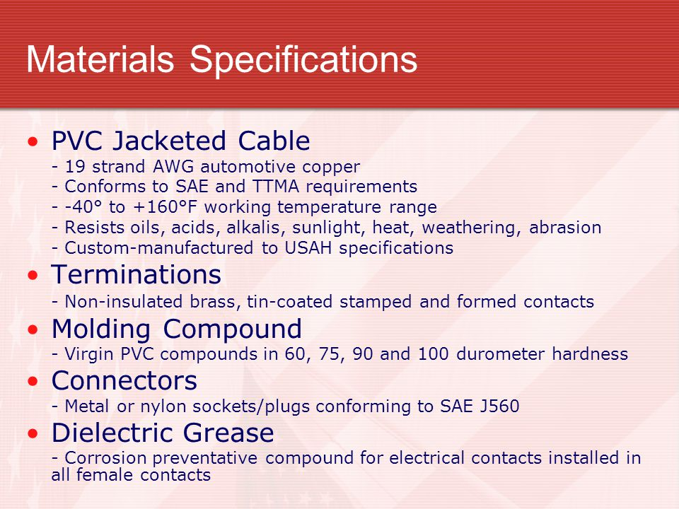 Materials Specifications
