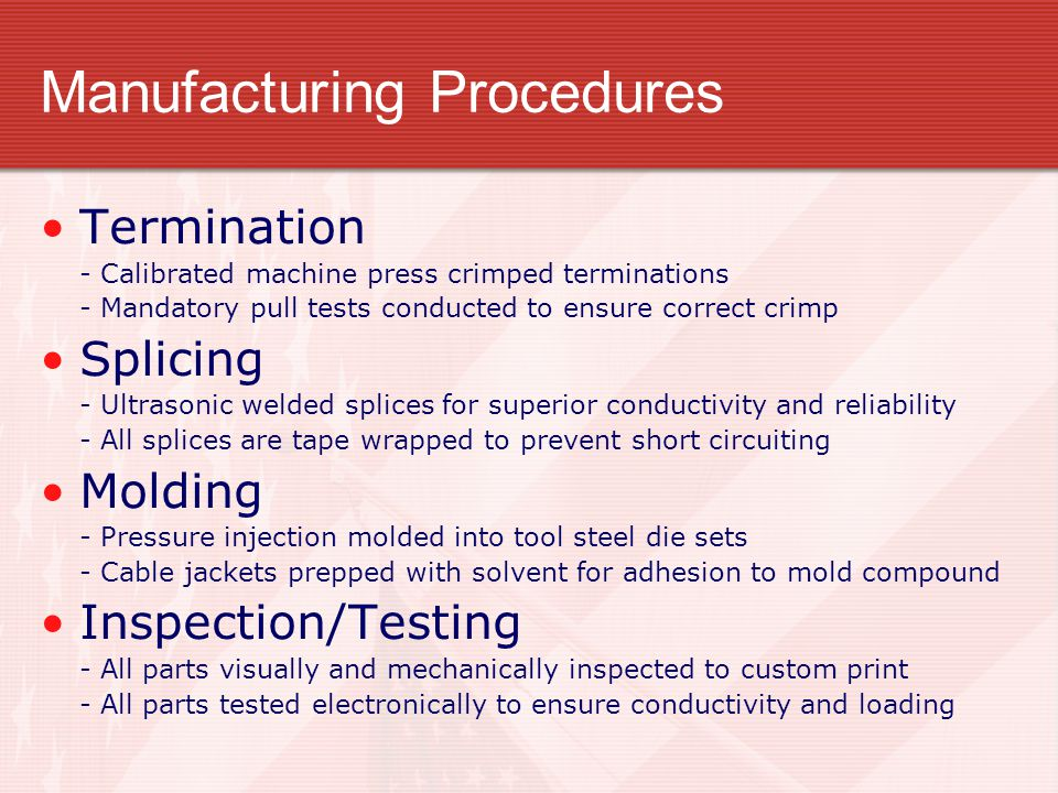 Manufacturing Procedures