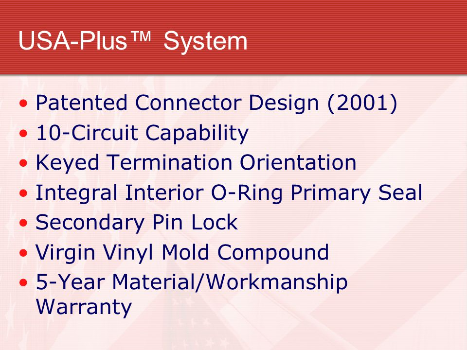 USA-Plus™ System Patented Connector Design (2001)