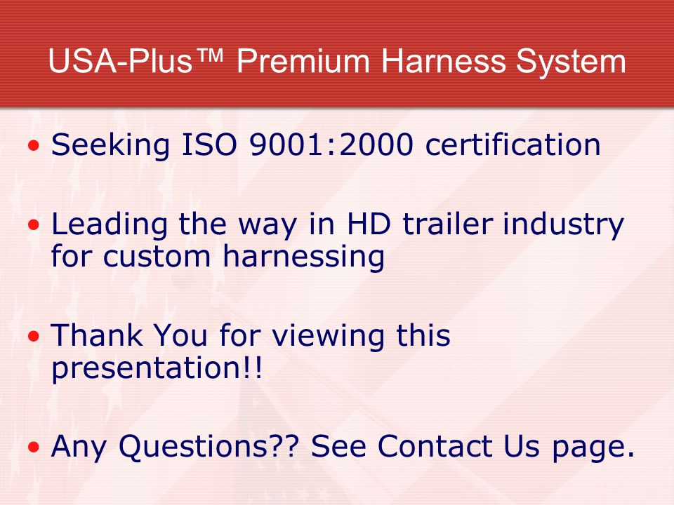 USA Plus%E2%84%A2+Premium+Harness+System usa plus™ wiring harness system ppt video online download usa plus wiring harness at soozxer.org
