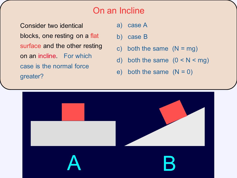 A B On an Incline a) case A b) case B c) both the same (N = mg)