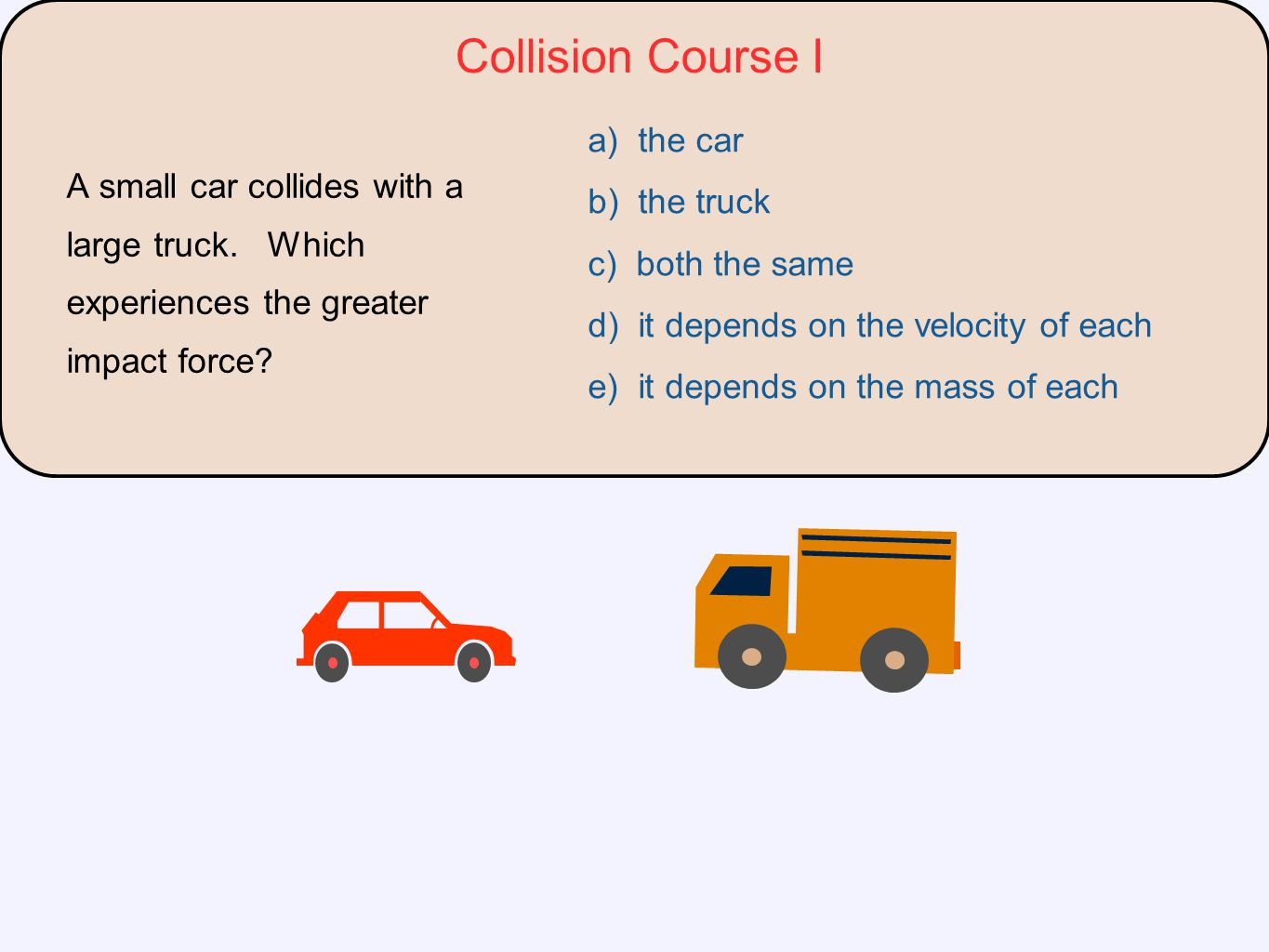 Collision Course I a) the car b) the truck