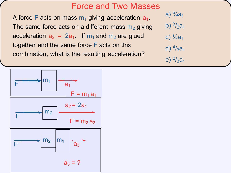 Force and Two Masses a) ¾a1 b) 3/2a1 c) ½a1 d) 4/3a1 e) 2/3a1