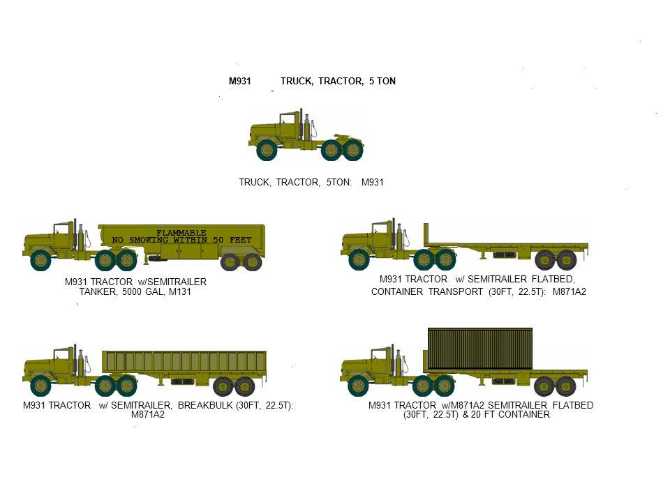 M931 TRACTOR w/SEMITRAILER TANKER, 5000 GAL, M131 FLAMMABLE