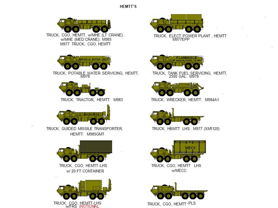 TRUCK, CGO, HEMTT, w/MHE (LT CRANE): TRUCK, ELECT POWER PLANT , HEMTT: