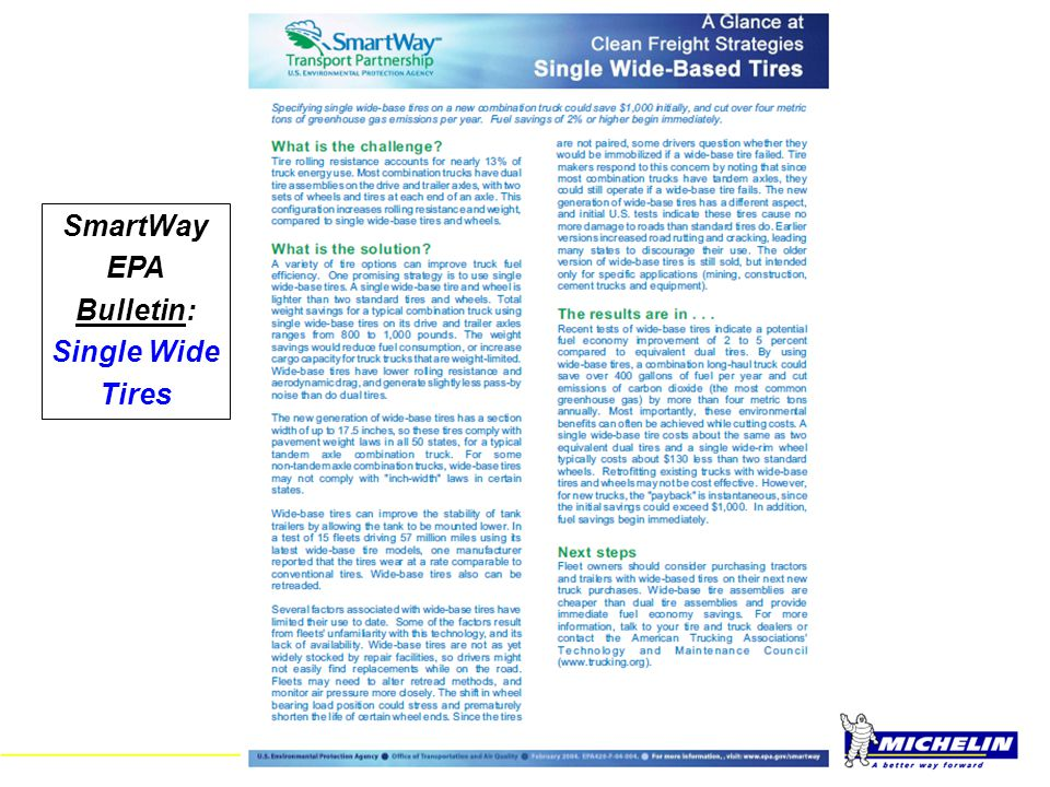 SmartWay EPA Bulletin: Single Wide Tires