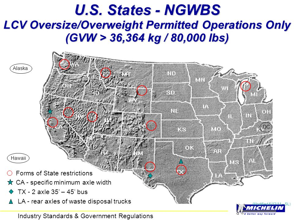 U.S. States - NGWBS LCV Oversize/Overweight Permitted Operations Only (GVW > 36,364 kg / 80,000 lbs)