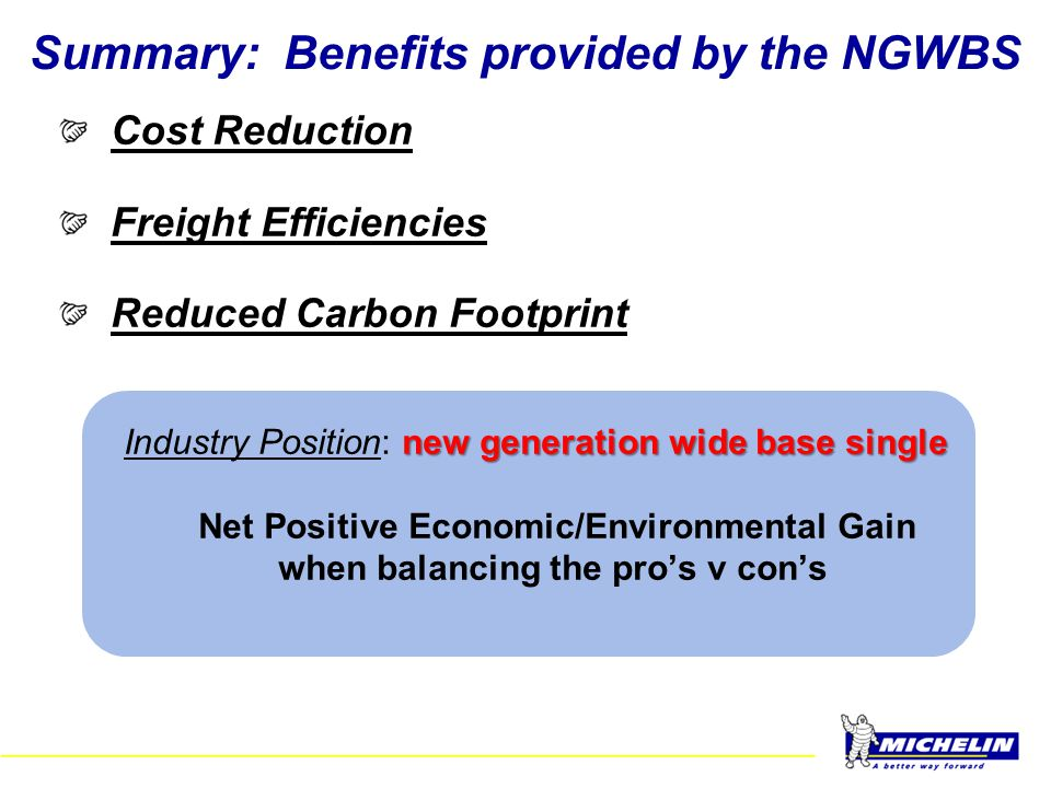 Summary: Benefits provided by the NGWBS