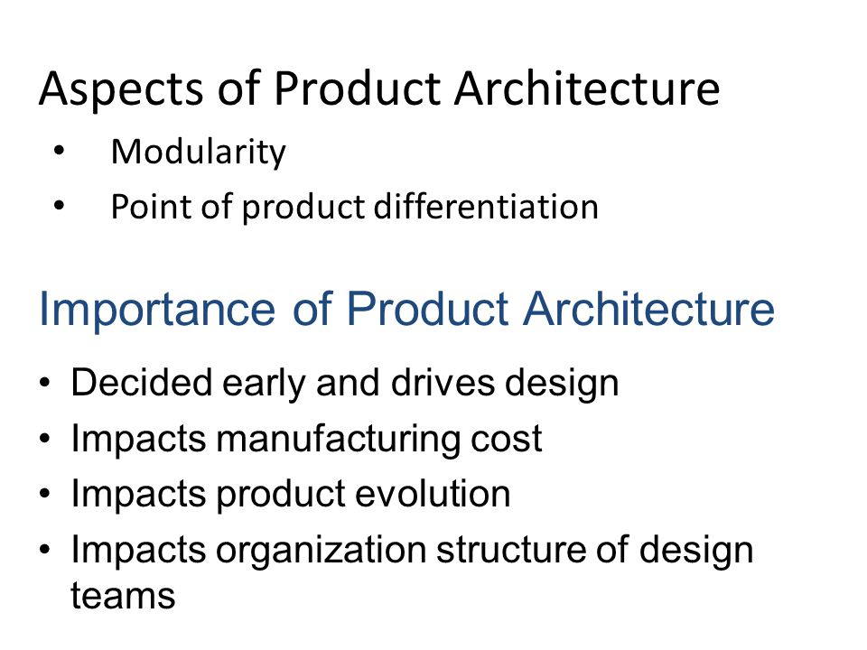 Aspects of Product Architecture