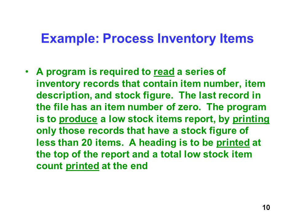 Example: Process Inventory Items