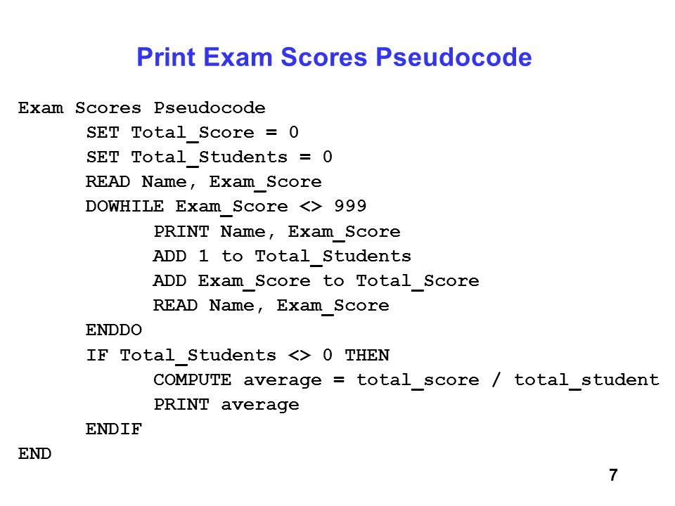 Print Exam Scores Pseudocode