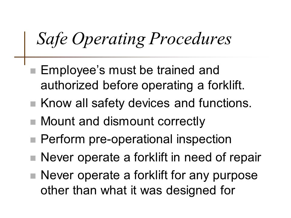 Safe Operating Procedures