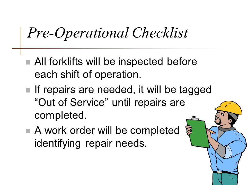 Pre-Operational Checklist
