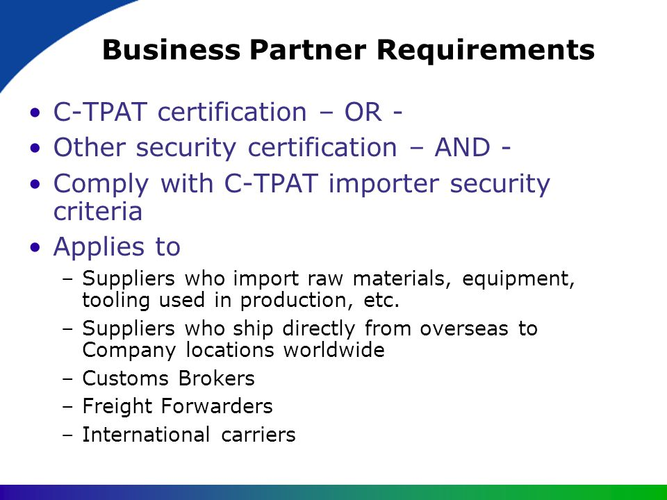 Business Partner Requirements