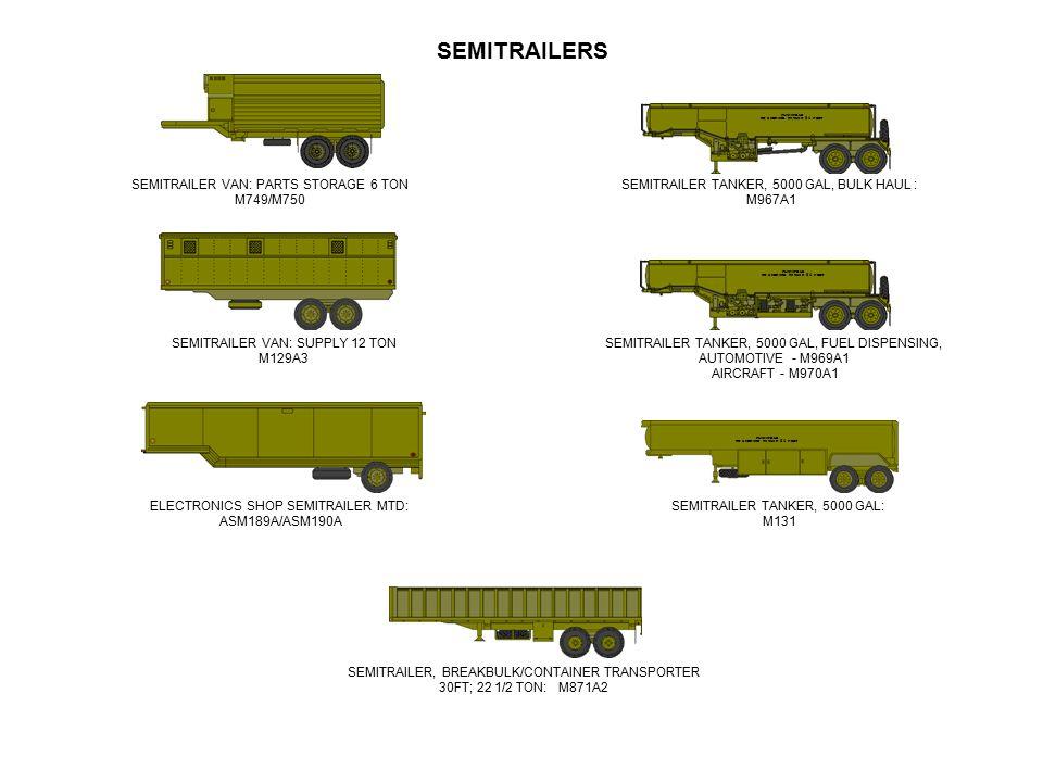 SEMITRAILERS SEMITRAILER VAN: PARTS STORAGE 6 TON M749/M750