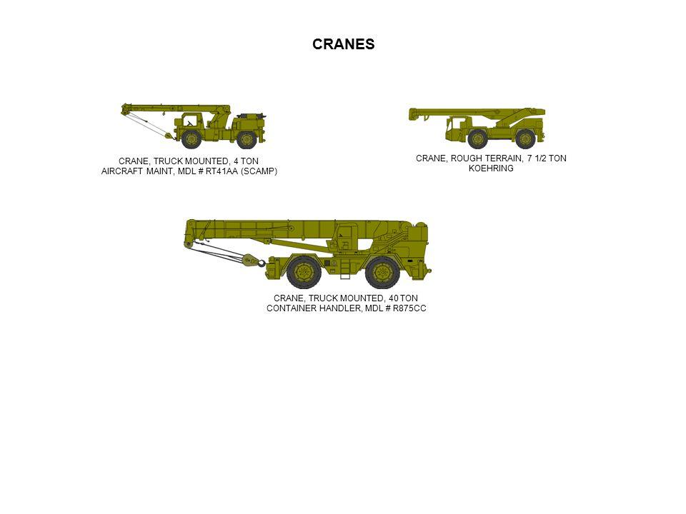 CRANES CRANE, ROUGH TERRAIN, 7 1/2 TON CRANE, TRUCK MOUNTED, 4 TON
