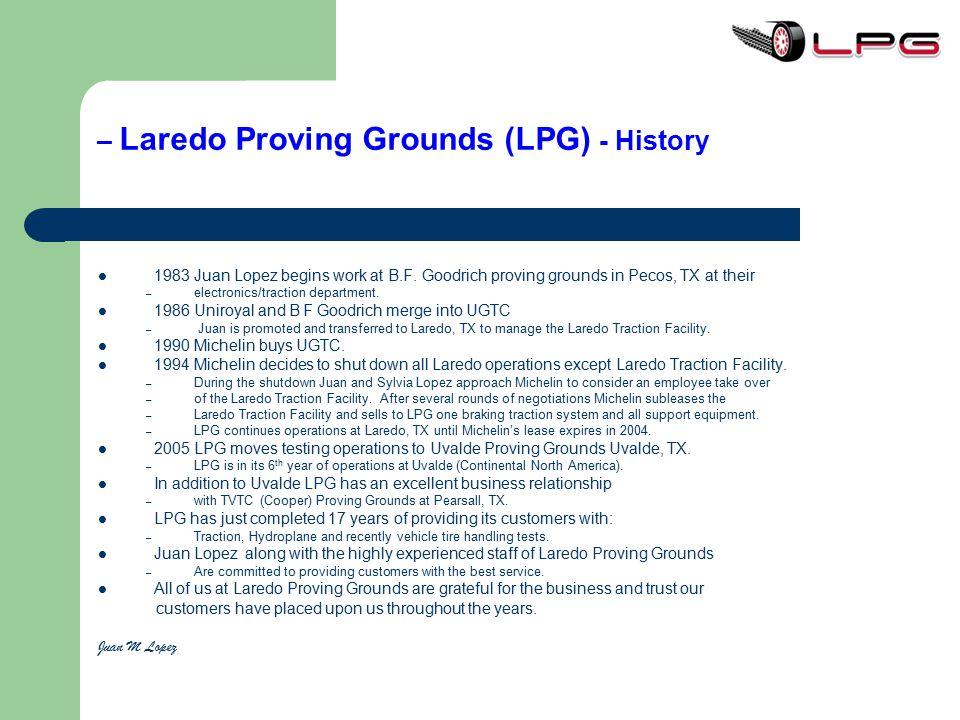 – Laredo Proving Grounds (LPG) - History