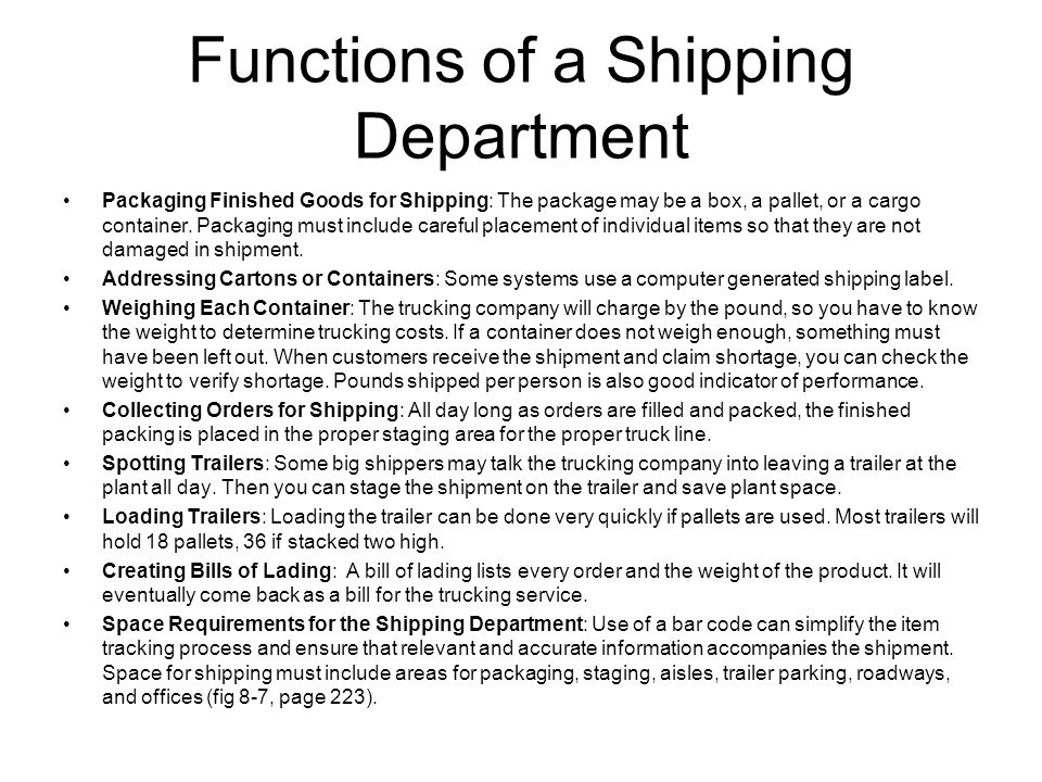 Functions of a Shipping Department