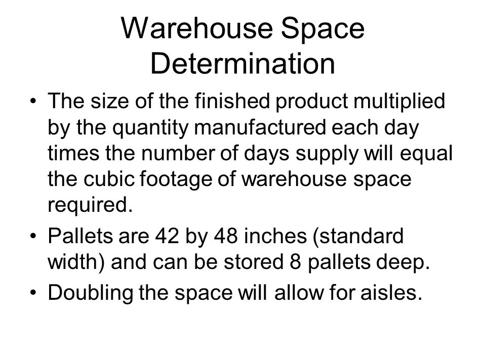 Warehouse Space Determination
