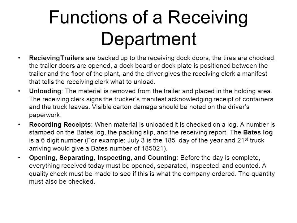 Functions of a Receiving Department