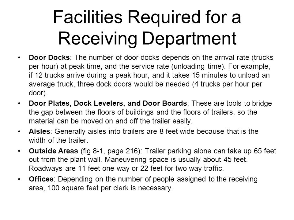 Facilities Required for a Receiving Department