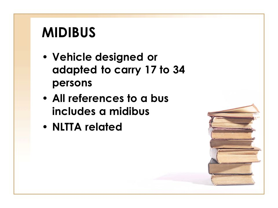MIDIBUS Vehicle designed or adapted to carry 17 to 34 persons