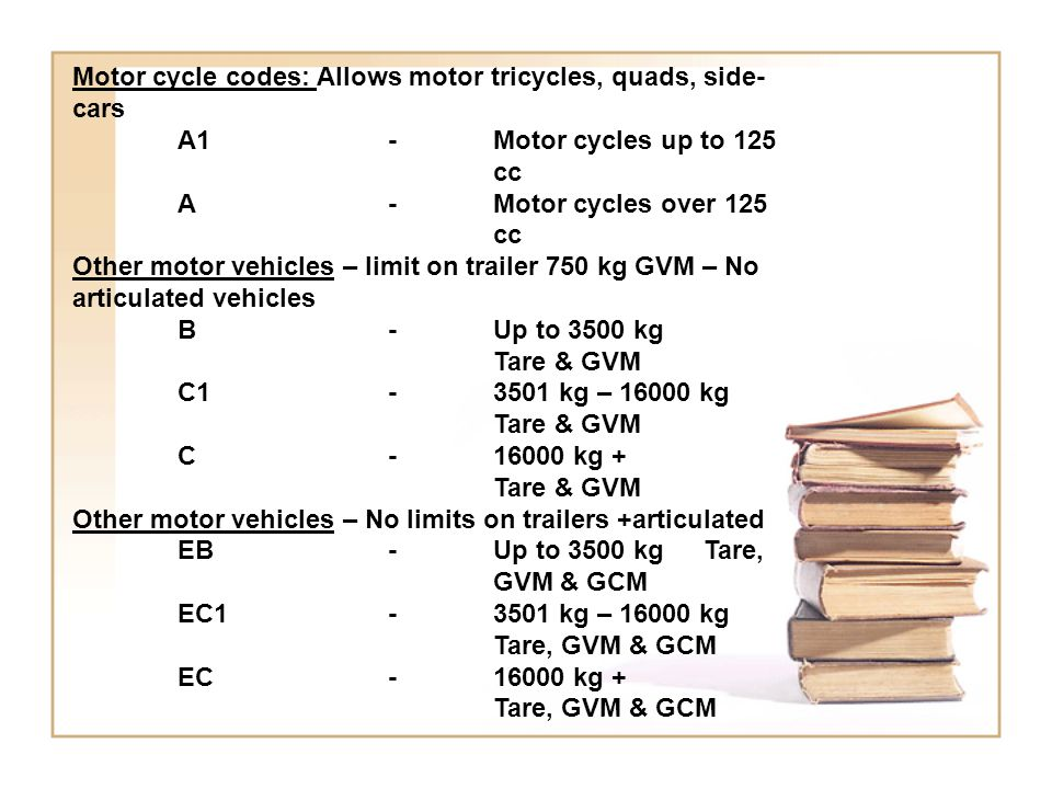 Motor cycle codes: Allows motor tricycles, quads, side-cars