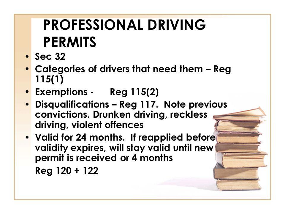 PROFESSIONAL DRIVING PERMITS