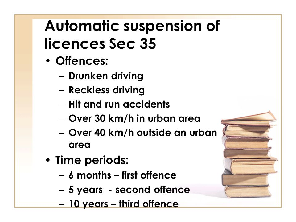 Automatic suspension of licences Sec 35