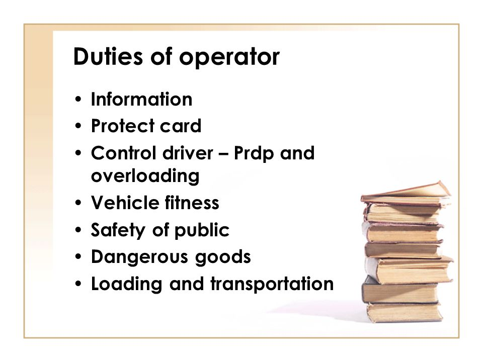 Duties of operator Information Protect card
