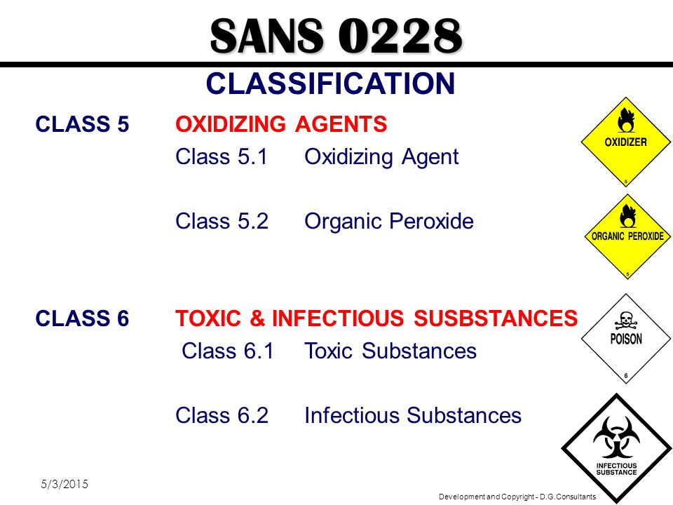 SANS 0228 CLASSIFICATION CLASS 5 OXIDIZING AGENTS