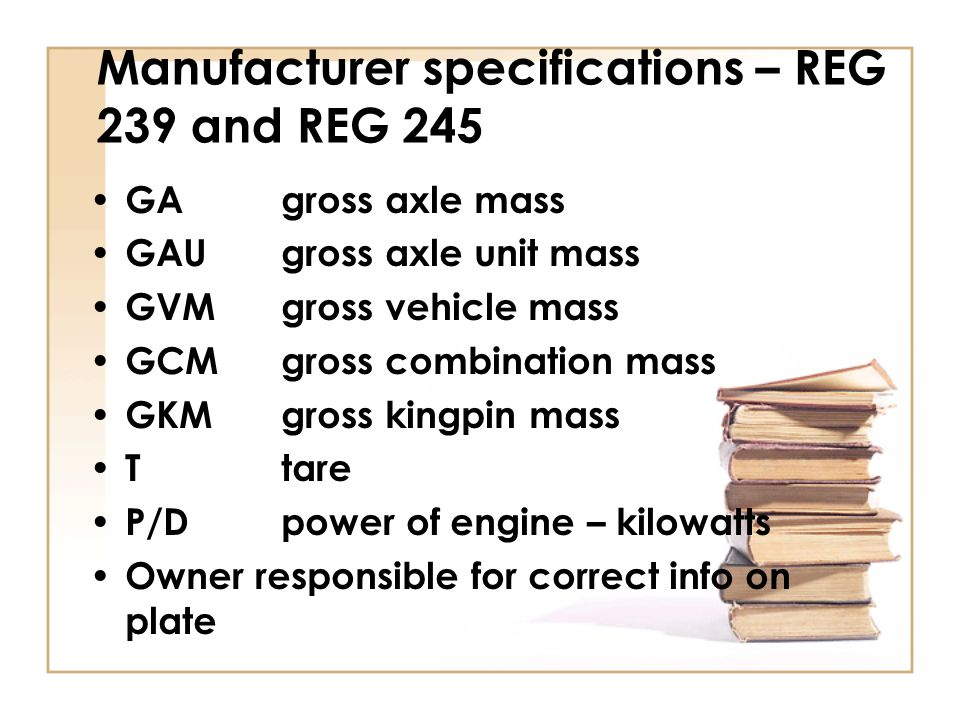 Manufacturer specifications – REG 239 and REG 245