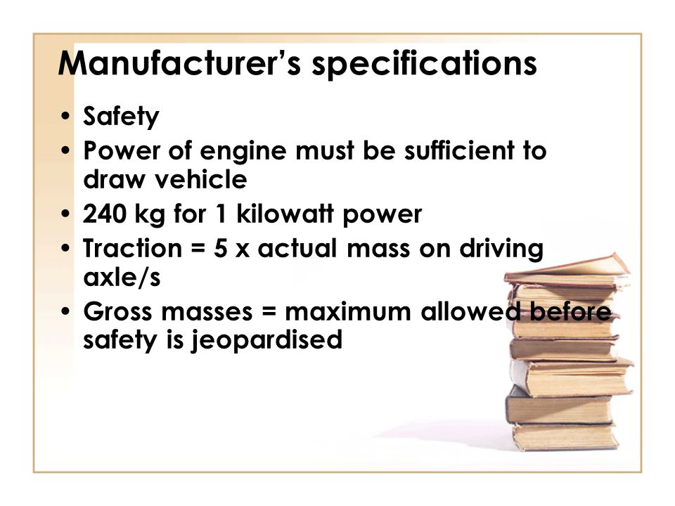 Manufacturer's specifications