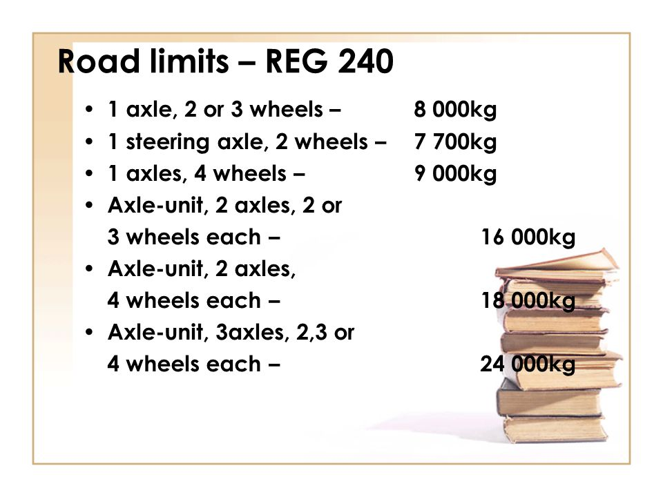 Road limits – REG 240 1 axle, 2 or 3 wheels – 8 000kg