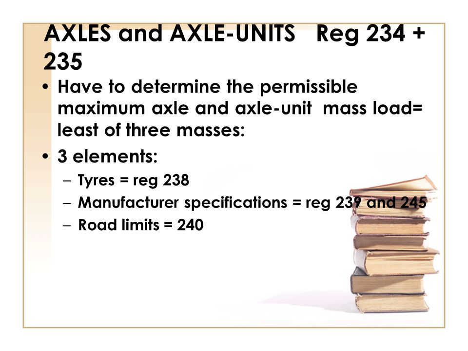 AXLES and AXLE-UNITS Reg 234 + 235