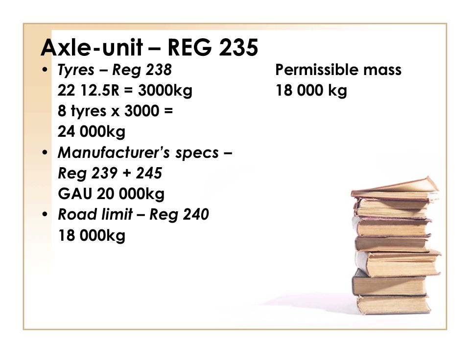 Axle-unit – REG 235 Tyres – Reg 238 Permissible mass