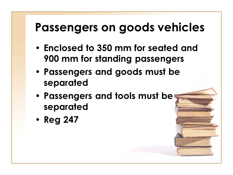 Passengers on goods vehicles