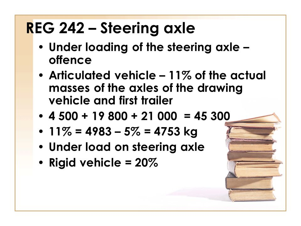 REG 242 – Steering axle Under loading of the steering axle – offence