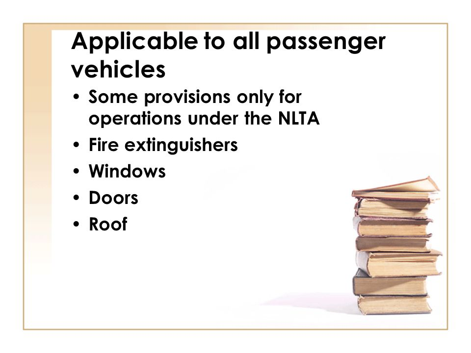Applicable to all passenger vehicles