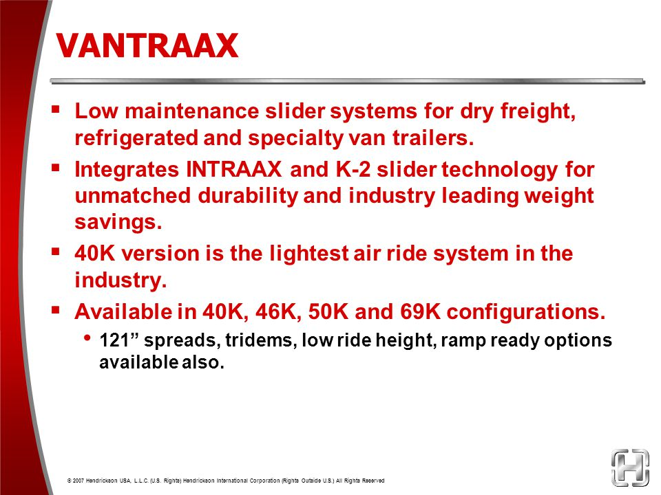 VANTRAAX Low maintenance slider systems for dry freight, refrigerated and specialty van trailers.