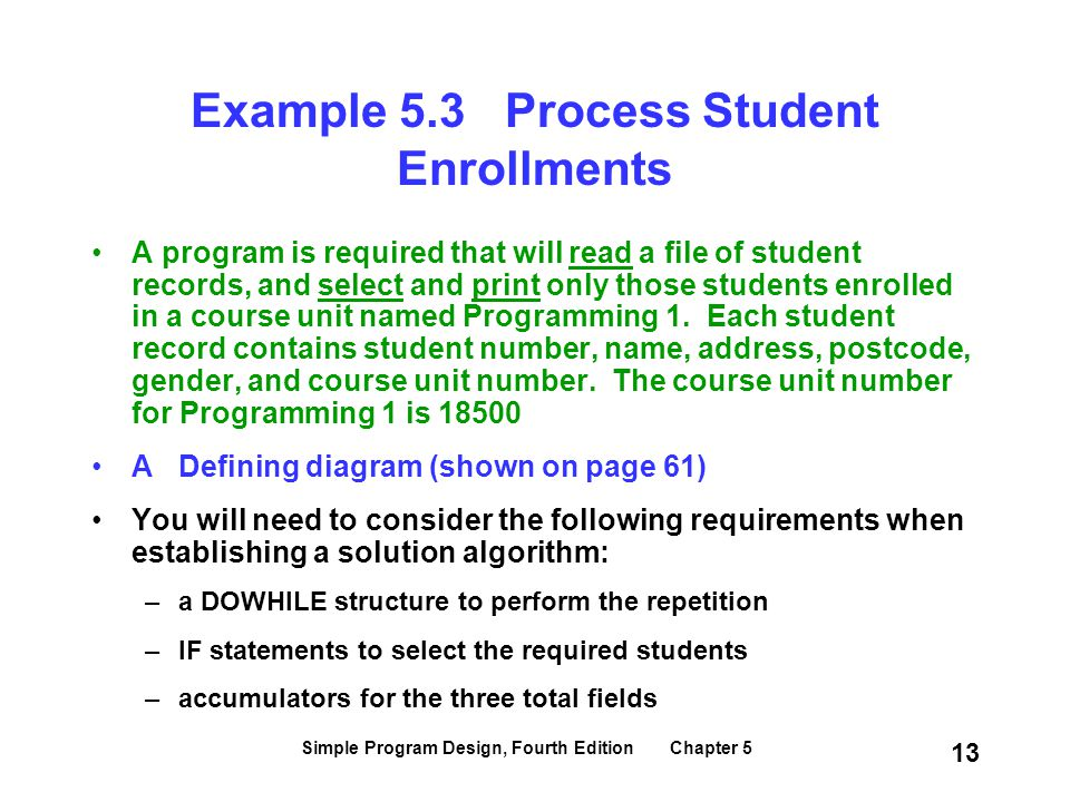Example 5.3 Process Student Enrollments