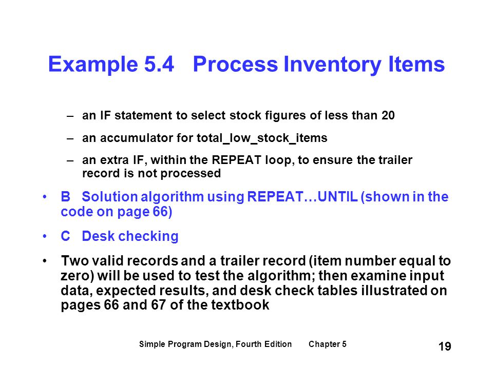 Example 5.4 Process Inventory Items