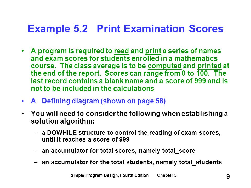 Example 5.2 Print Examination Scores