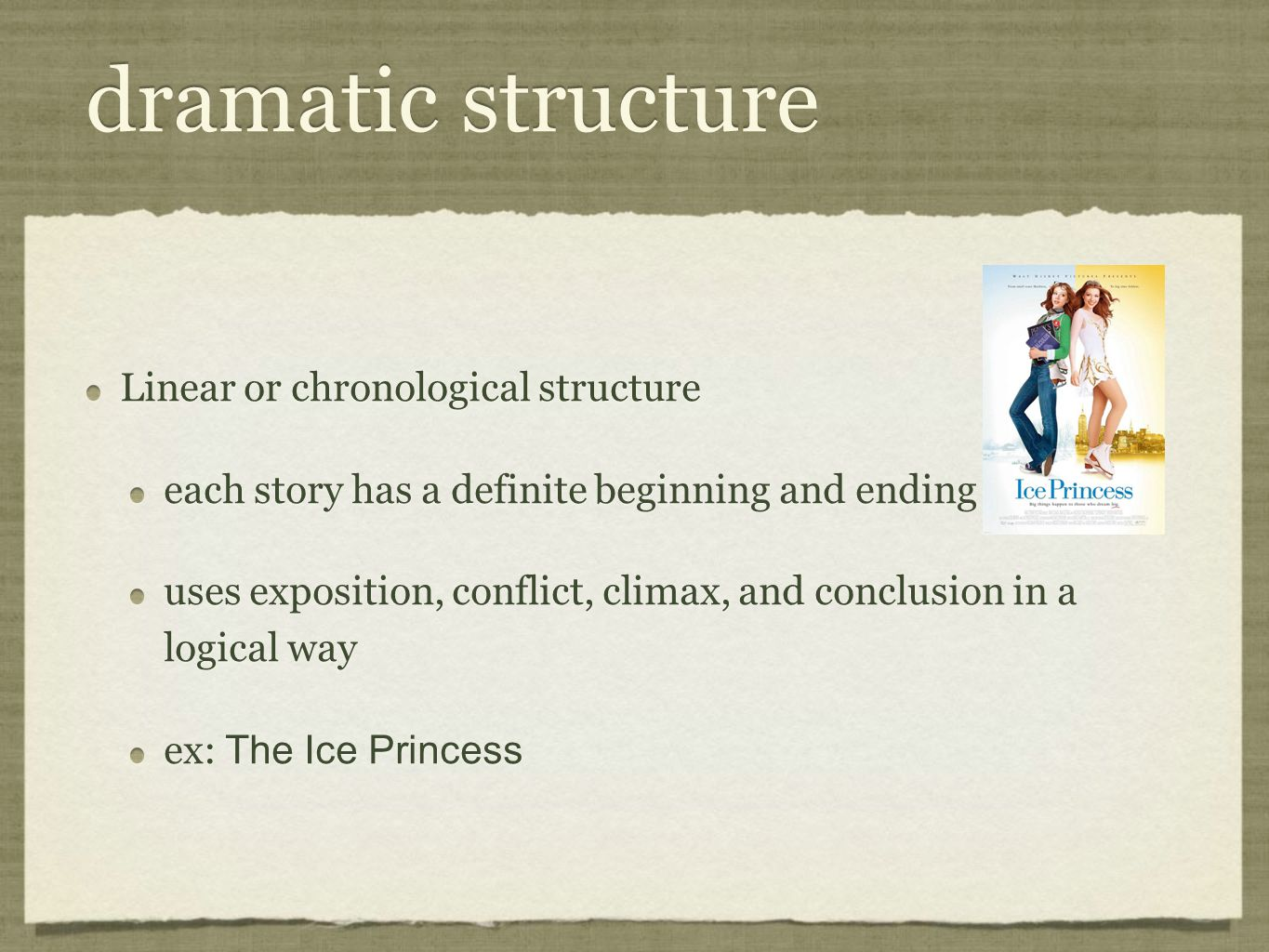 dramatic structure Linear or chronological structure