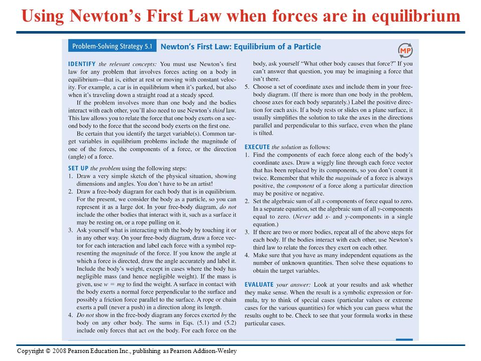 Using Newton's First Law when forces are in equilibrium